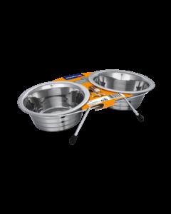 Produktbild: Edelstahl-Doppelnapf mit Halter, 2 x 450 ml